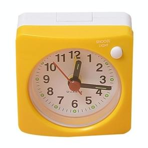 Travel Small Alarm Clock Bedside Mute Alarm Clock with Light & Snooze Function(Yellow)
