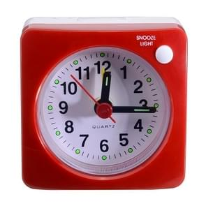 Travel Small Alarm Clock Bedside Mute Alarm Clock with Light & Snooze Function(Red)
