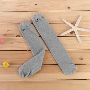 Kinderen kat lange rechte katoenen sokken  grootte: One size (lichtgrijs)