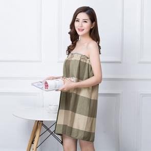 Women Breathable Plaid Bath Towel(Brick Red)