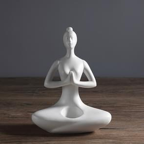 Yoga Zen Garden Statues Ceramic Women Meditate Home Decoration, Style:Palm, Size:S