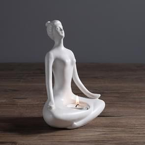 Yoga Zen Garden Statues Ceramic Women Meditate Home Decoration, Style:Flat, Size:L