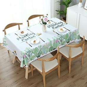 Prentkunst koffie dining tabel doek PVC waterdicht Oilproof anti-scalding tafelkleed  grootte: 140x140cm vierkante tabel (cactus)