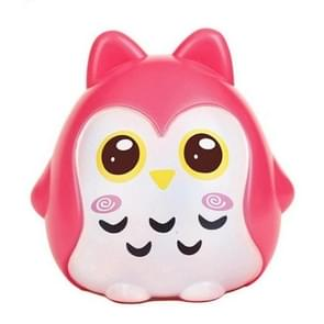 Home Decoration Owl Shaped Piggy Coin Bank Money Saving Box(Red)