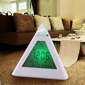 2 PCS Color Changing Pyramid Digital LCD Alarm Clock Thermometer Temperature Date Display Electronic Table Desktop Clocks