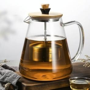 Stainless Steel Infuser Teapot Clear Borosilica Glass Filter Heat Resistant Coffee Puer Tea Pot Heated Container Boiling Kettle, Size:1500ml