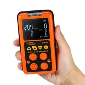 ST8900 4 in 1 Toxic Gas CO Carbon Monoxide Detector Hydrogen Sulfide H2S Oxygen Combustible Gas Test LCD Display Monitor, Sound Light Vibration Alarm