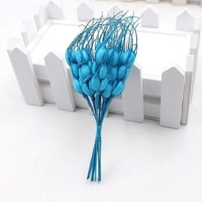 Artificial Flower Mini Foam Autumn Wheat  Bouquet for Wedding Decoration Wreath Fake Flowers(Blue)