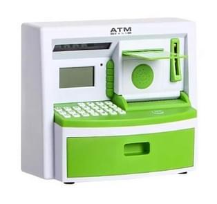Safety Electronic Digital Piggy Bank Mini ATM Money Box Password Saving Children Gift(Green )