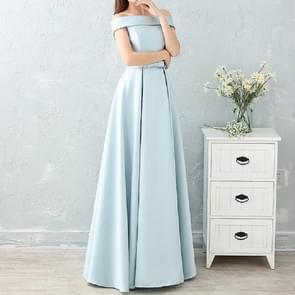 Satin Long Bridesmaid Sisters Skirt Slim Graduation Gown, Size:XS(Ice Blue C)