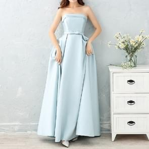Satin Long Bridesmaid Sisters Skirt Slim Graduation Gown, Size:S(Ice Blue D)