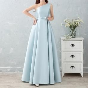 Satin Long Bridesmaid Sisters Skirt Slim Graduation Gown, Size:M(Ice Blue F)