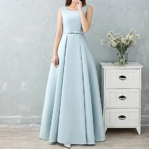Satin Long Bridesmaid Sisters Skirt Slim Graduation Gown, Size:XL(Ice Blue A)