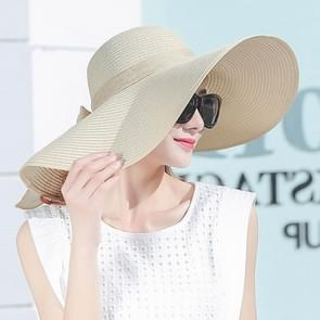 Women Summer Hats Foldable Wide Large Brim Beach Sun Straw Cap Elegant Hats Caps, Color:Beige(M)