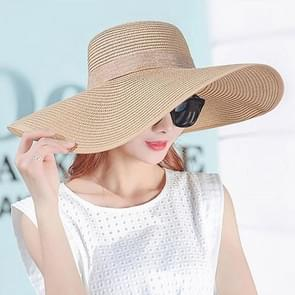 Women Summer Hats Foldable Wide Large Brim Beach Sun Straw Cap Elegant Hats Caps, Color:Khaki(M)