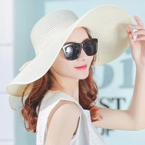 Women Summer Hats Foldable Wide Large Brim Beach Sun Straw Cap Elegant Hats Caps, Color:WHITE(M)