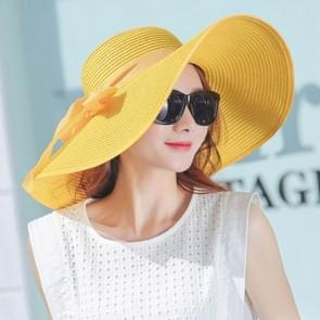 Vrouwen zomer hoeden opvouwbare brede rand strand Sun Straw Cap elegante hoeden Caps  Color:YELLOW(M)