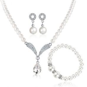 Imitatie parel water drop kristallen sieraden sets voor vrouwen