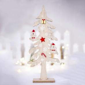 2 PCS Christmas Decorations Creative Painted Wooden Christmas Tree Ornaments, Size:31x13cm