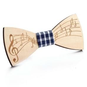 Mannen muzikale Opmerking patroon houten bow-knoop Bow tie (Big grid Navy)