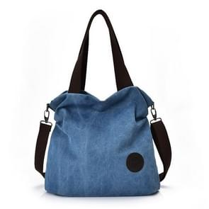 Leisure Canvas Female Solid Shoulder Fashion Handbags(Lake Blue)