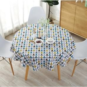 Polyester Cotton Round Tablecloth Dust-proof Cotton and Linen Printing Tablecloth, Diameter:150cm(Color Triangl)