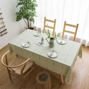 Square Lattice Embroidered Tablecloth Pure Color Cotton Linen Tassel Rectangular Coffee Table Mat, Size:90x90cm(Green)