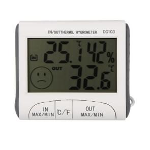 LCD Digital Thermometer Hygrometer Moisture Meter and Wired Temperature with External Sensor White