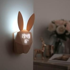 LED Sound Night Light Thermometer Rechargeable Table Wall Clocks Cute Rabbit Shape Digital Alarm Clock(Pink)