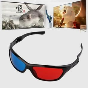 2 stuks universele 3D kunststof bril zwart frame 3D Visoin glas voor dimensionale anaglyph film spel DVD video