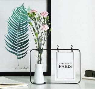 Wrought Iron Picture Frame Photo Frame Living Room Set Up Table Vase Office Room Home Decoration, Color:Black