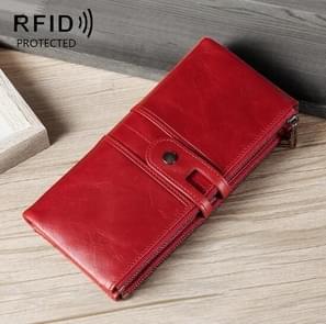 Dames Echte Lederen Lange Portemonnee Anti-diefstal Card Bag Multifunctionele Clutch Bag (Rood)