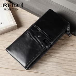 Dames Echte Lederen Lange Portemonnee Anti-diefstal Card Bag Multifunctionele Clutch Bag (Zwart)