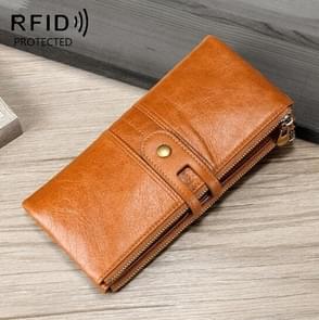 Dames Echte Lederen Lange Portemonnee Anti-diefstal Card Bag Multifunctionele Clutch Bag (Bruin)