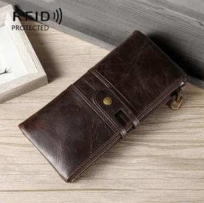 Dames Echte Lederen Lange Portemonnee Anti-diefstal Card Bag Multifunctionele Clutch Bag (Koffie)