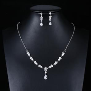 Elegante eenvoudige Bridal Wedding oorbellen Zircon ketting set (TL76)