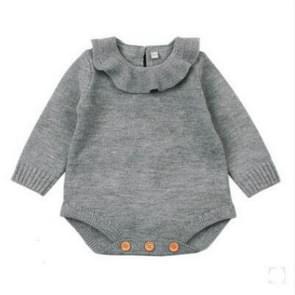 Winter Newborn Babies Knitting Long Sleeve Jumpsuit Romper, Size:100cm(Gray)