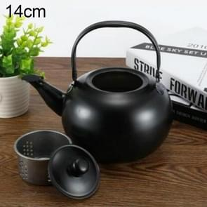 Thick Stainless Steel Teapot Tea Set Coffee Pot, style:black 14cm