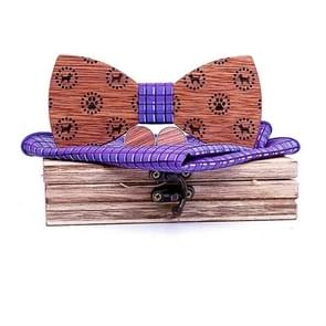 3 in 1 schattige hond patroon houten strikje + Manchetknopen + vierkante sjaal set (T223-C5 paars)