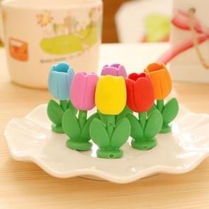 XZ160 6 stuks creatieve cartoon bloem gravure simulatie Tulip gum kinderen briefpapier gift