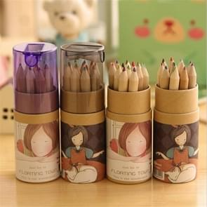 12 PCS Kraft Paper Girl Pattern Cartridges Multicolor Pencil 12 Colors Loading Sharpener Cover Drawing Color Lead Color Pencil, Random Color Delivery