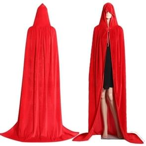 3 PCS Wizard Witch Prince Hooded Cloak Robe Halloween Cloak Costumes, Size:S(Red)