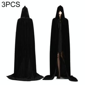 3 PCS Wizard Witch Prince Hooded Cloak Robe Halloween Cloak Costumes, Size:XL(Black)