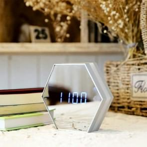 Multi-function Touch Sensing Led Digital Alarm Clock Night Light Temperature Display Table Lamp Makeup Mirror Travel Clocks(White)