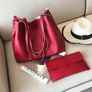 2 in 1 Soft Leather Women Bag Set Luxury Fashion Design Shoulder Bags Big Casual Bags Handbag(Wine red)