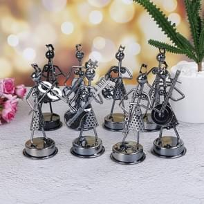 8 PCS Musicians Figurines Arts Craft Decorations Mini Iron Music Band Model(Girl Black)