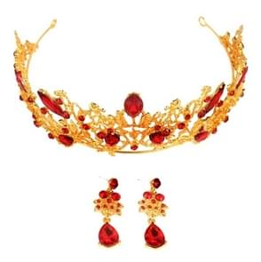 Baroque Vintage Gold Red Crystal Bridal Jewelry Sets(Crown+ear ring have hole)