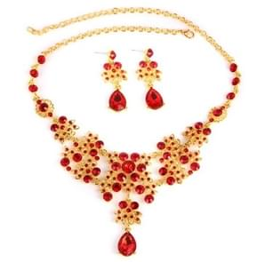 Baroque Vintage Gold Red Crystal Bridal Jewelry Sets(Necklace+Ear ring have hole )