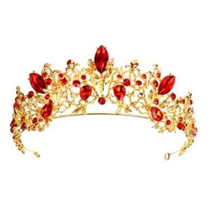 Baroque Vintage Gold Red Crystal Bridal Jewelry Sets(Crown)