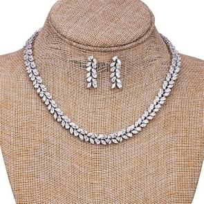 Platinum Bride Luxury Set Chain Horse Eye Leaf Shaped Necklace Earring Set(Platinum Plated)